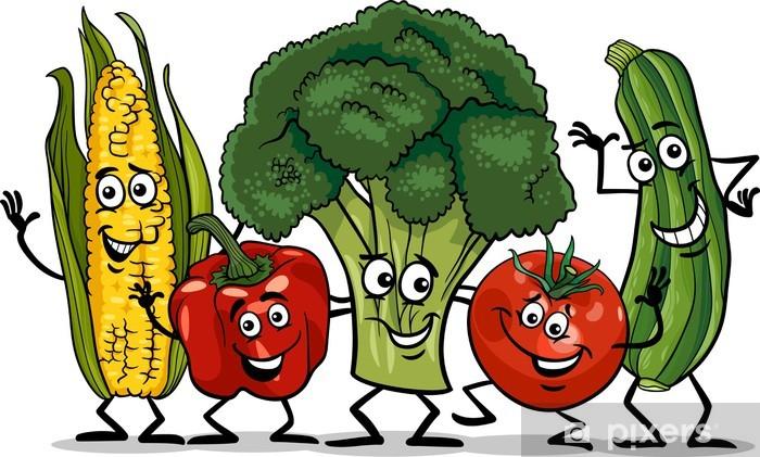 Vinilo Para Armario Verduras De Historietas De Dibujos Animados Grupo