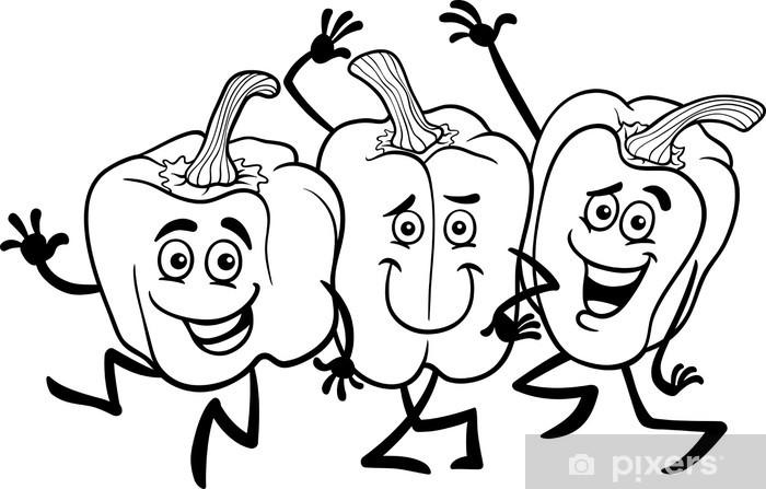 Vinilo Pimientos Caricatura Verduras Para Colorear Pixerstick