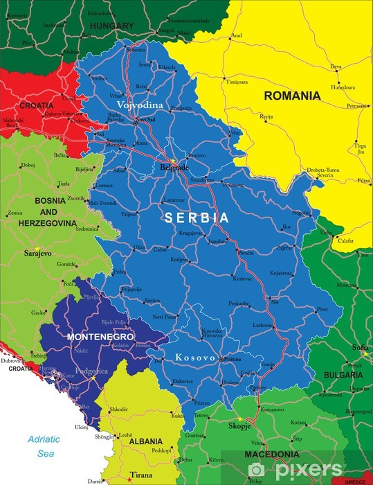 Jugoslawien Karte 2018.Fototapete Serbien Und Montenegro Karte