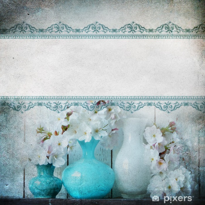 Fototapete Vintage-Shabby Chic Hintergrund mit Blumen