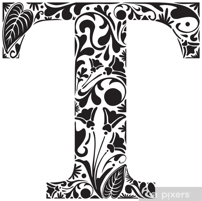 Naklejka Pixerstick Floral T - Znaki i symbole