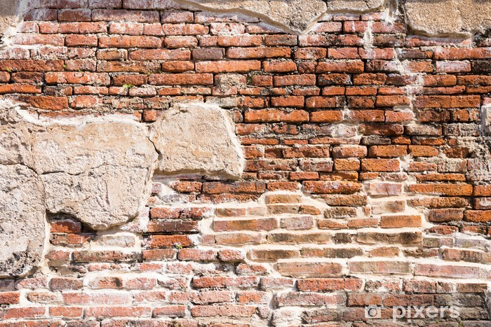 Papier peint vinyle Fragment de mur de brique antique - Thèmes