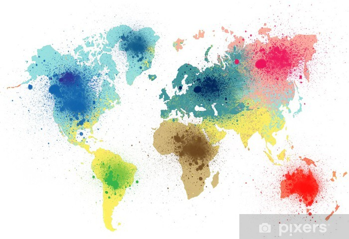 colorful world map with paint splashes Pixerstick Sticker - Art & lifestyle