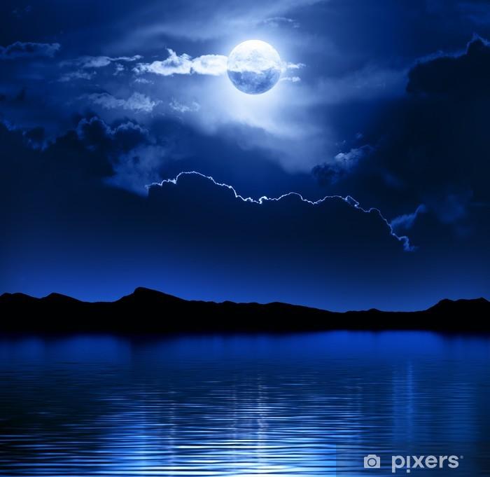 Vinilo Pixerstick Fantasía Luna y nubes sobre el agua - Temas