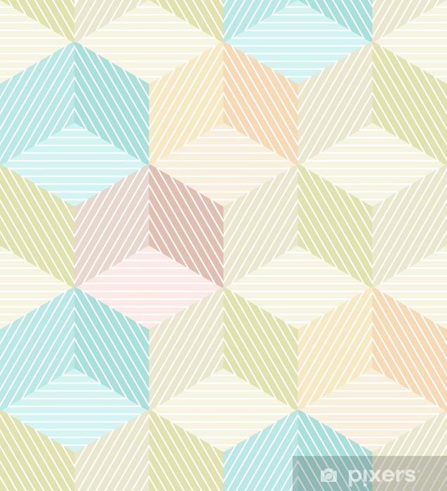 Papier peint vinyle Seamless beige géométrique avec des cubes rayés - Autres sentiments