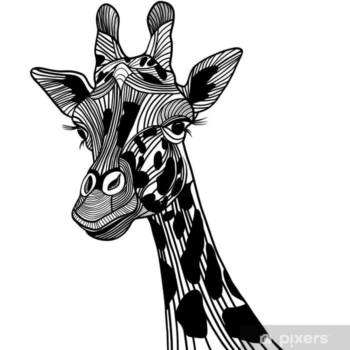 Nálepka Pixerstick Žirafa hlava vektor zvíře na tričko. Skica tetování design. - Nálepka na stěny