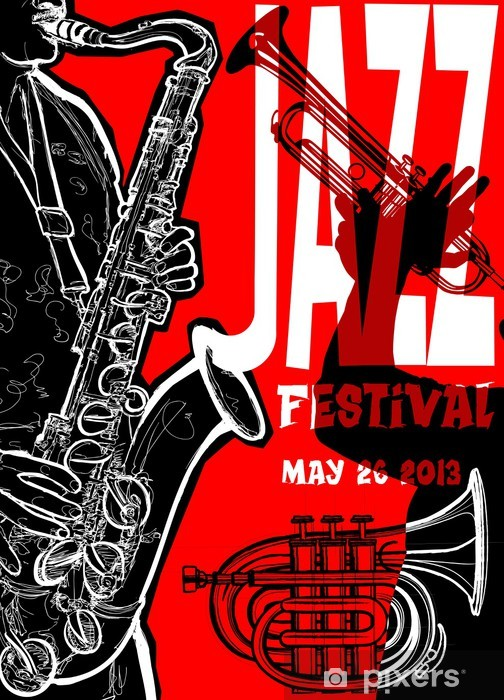 Vinyl Fotobehang Jazz poster met saxofonist - jazz