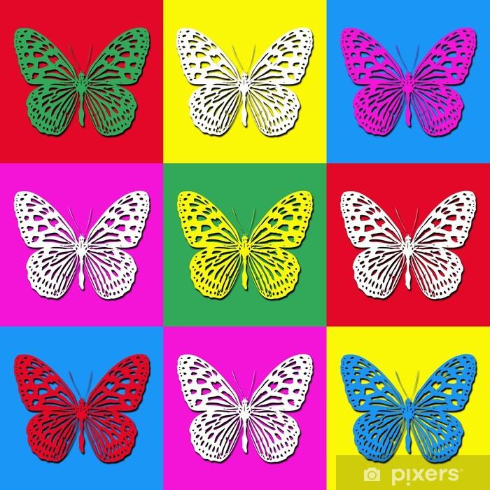 Poster Pop illustration de l'art avec des papillons colorés - Art et création