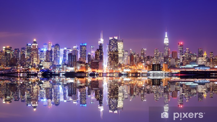 Manhattan Skyline with Reflections Pixerstick Sticker -