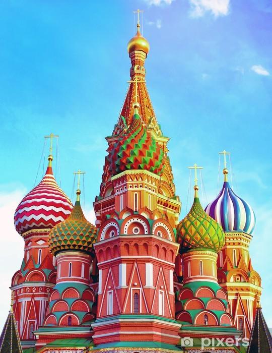 Papier peint vinyle Cathédrale Saint-Basile sur la Place Rouge, à Moscou, en Russie. - Bâtiments publics