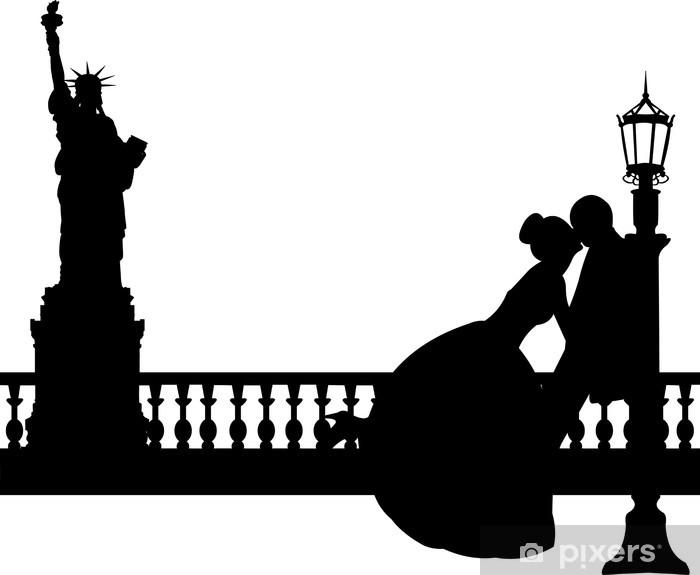 Fototapeta winylowa Para ślub w Nowym Jorku sylwetka - Naklejki na ścianę