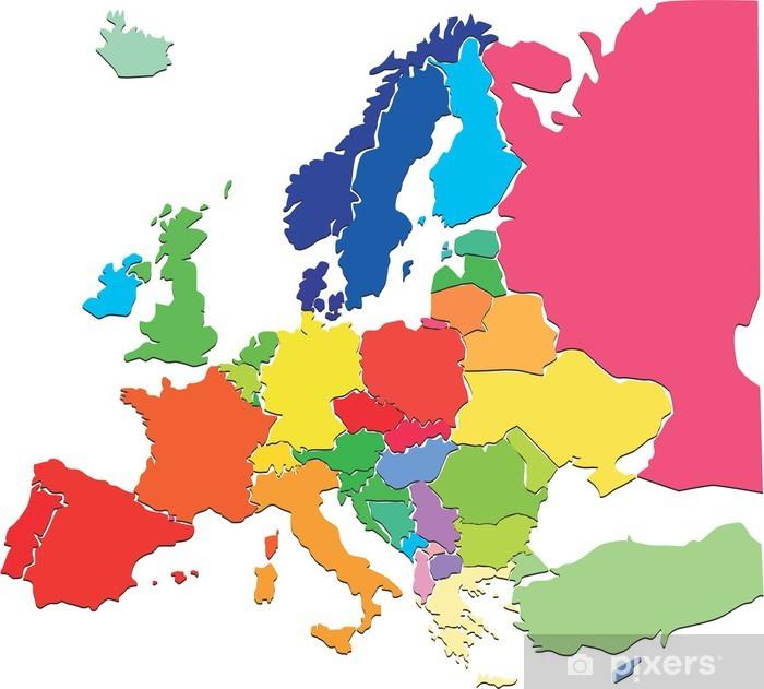 Cartina Europa 700.Carta Da Parati Colorful Mappa Europa Pixers Viviamo Per Il Cambiamento