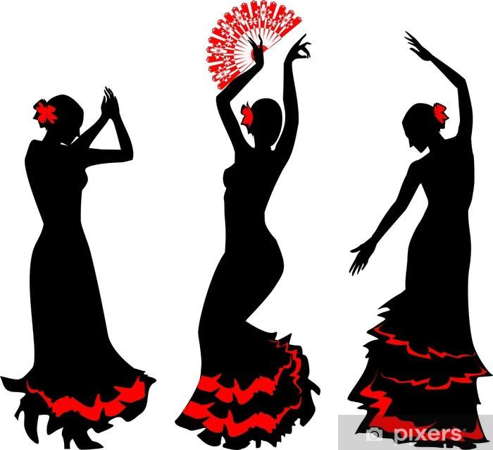 Fototapeta winylowa Trzy sylwetki tancerki flamenco z wentylatorem - Kobiety