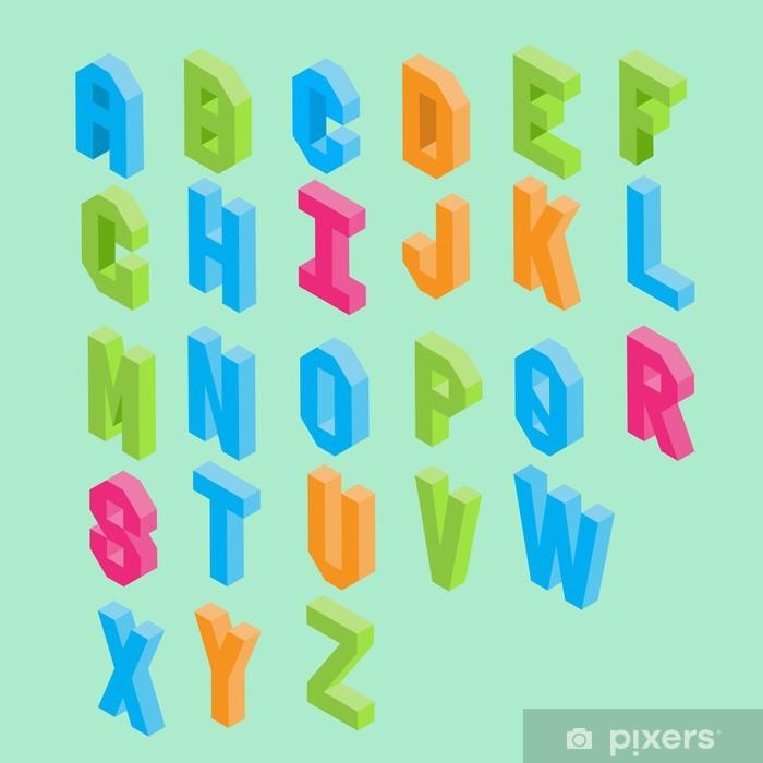 Nálepka Pixerstick Barevné izometrické typografie vektor - Vzdělávání