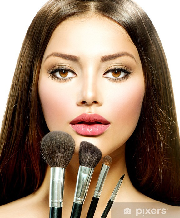 Sticker Pixerstick Fille de beauté avec brosses de maquillage. Make-up pour Brunette - Femmes