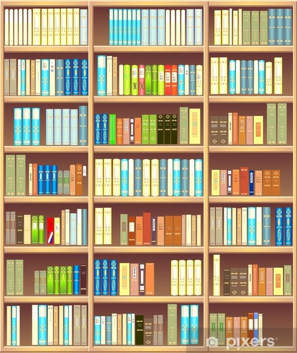 Fototapeta winylowa Regał pełen różnych kolorowych książek - Biblioteczka