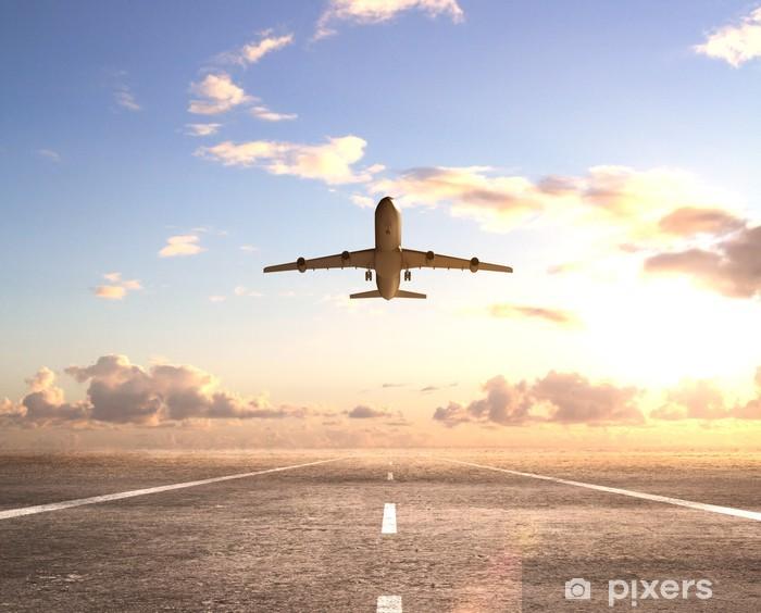 Sticker Pixerstick Avion sur la piste - Thèmes