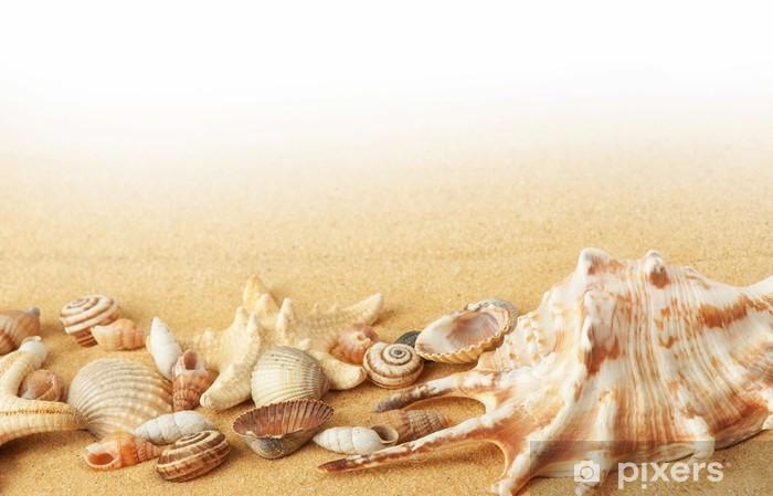 Shells and starfishes on sand background Pixerstick Sticker - Destinations