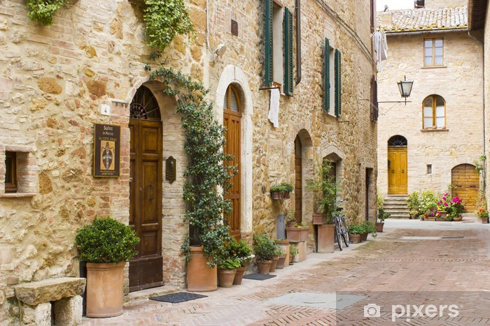 Lovely Tuscan Street, Pienza, Italy Wall Mural • Pixers