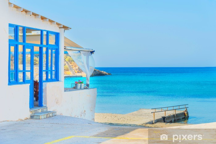 Greece Syros island, panoramic view on sandy beach during summer Vinyl Wall Mural - Europe