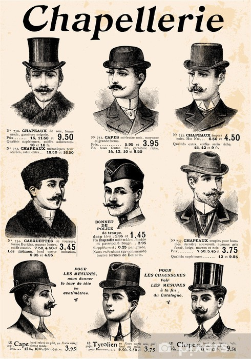 Sticker Pixerstick 9 messieurs avec le chapeau et la moustache - Moustache