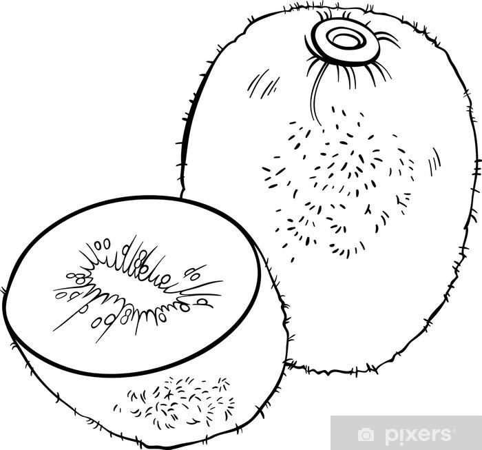 Coloriage Kiwi Fruit.Papier Peint Kiwi Illustration De Fruits Pour Livre De Coloriage