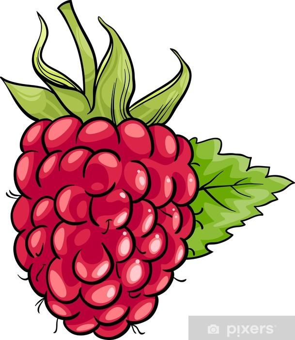 raspberry fruit cartoon illustration Washable Wall Mural - Raspberries