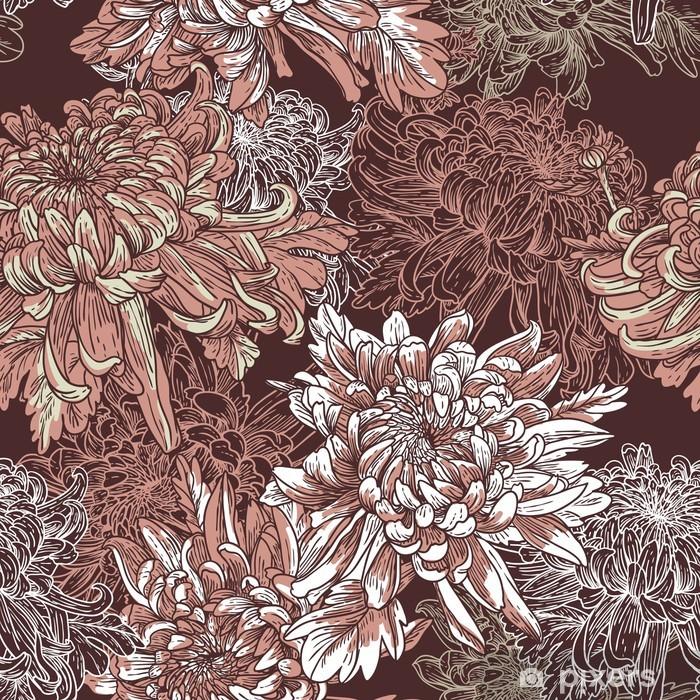 Nálepka Pixerstick Květinové pozadí s kvetoucí chryzantémy - Život