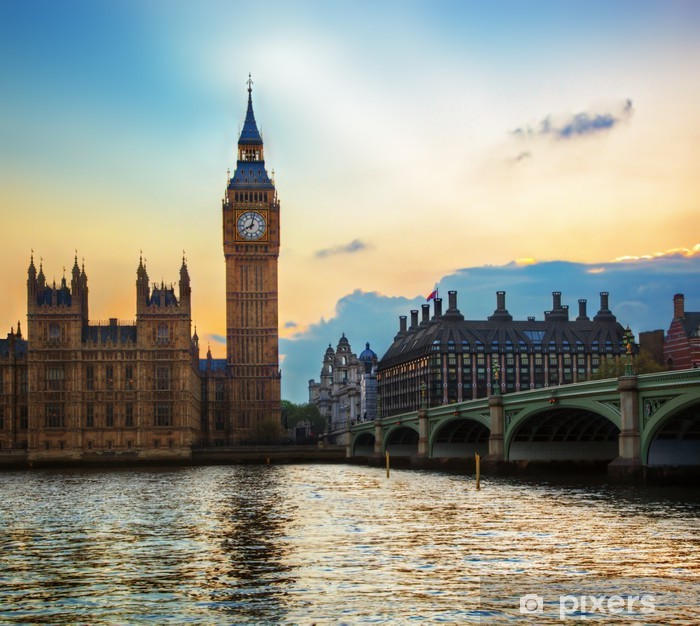 London, the UK. Big Ben, the Palace of Westminster at sunset Pixerstick Sticker - Themes