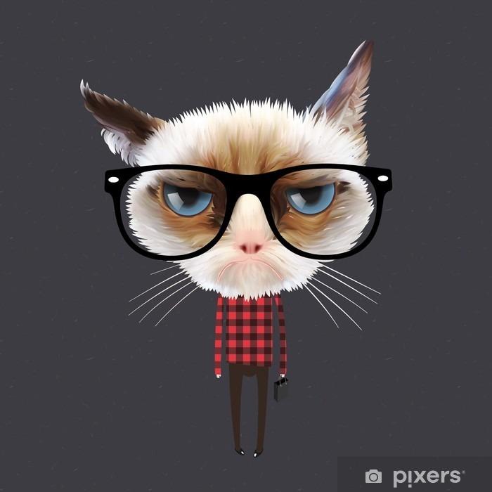 Naklejka Pixerstick Zabawny kot kreskówki, wektor eps10 ilustracji. - Przeznaczenia