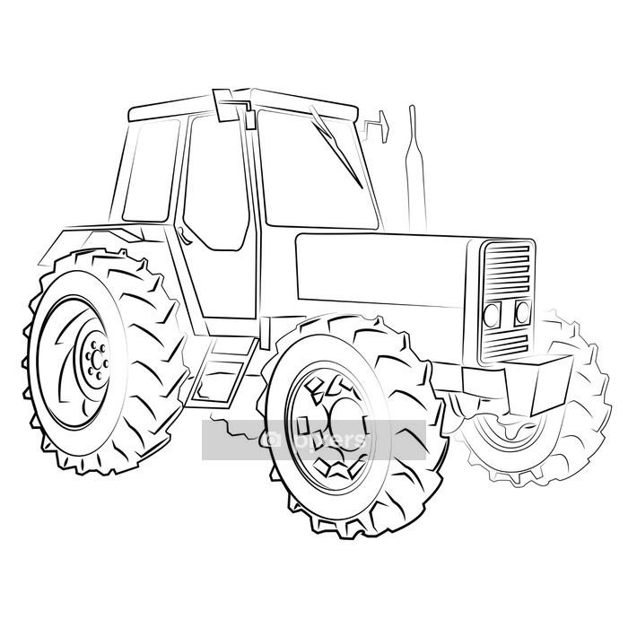 Wandtattoo Traktor Isoliert Auf Weiss Pixers Wir Leben Um Zu