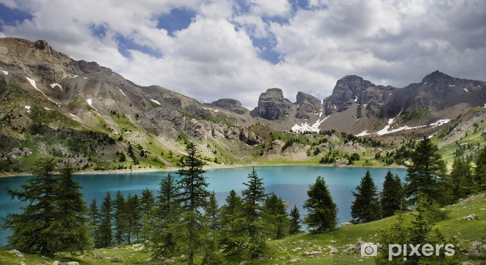 Image of Lac D'Allos .Alpes-de-Haute-Prov ence in France. Vinyl Wall Mural - Outdoor Sports