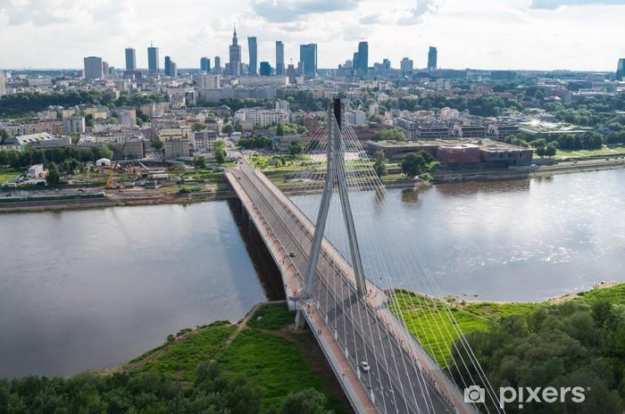 Vinilo Pixerstick Varsovia panorama, puente Świętokrzyski - Temas
