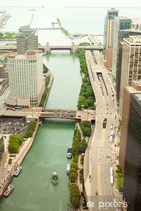 Chicago. Aerial view of Chicago downtown. Pixerstick Sticker - America