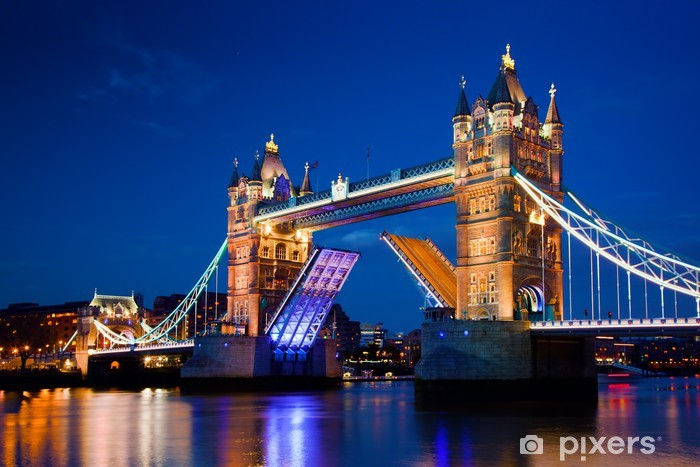 Tower Bridge in London, the UK at night Self-Adhesive Wall Mural - Themes