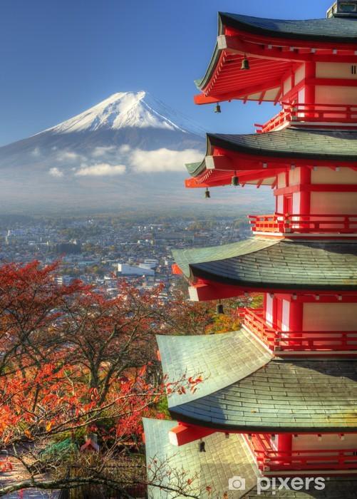 Mt. Fuji and Autumn Leaves at Arakura Sengen Shrine in Japan Pixerstick Sticker - Themes