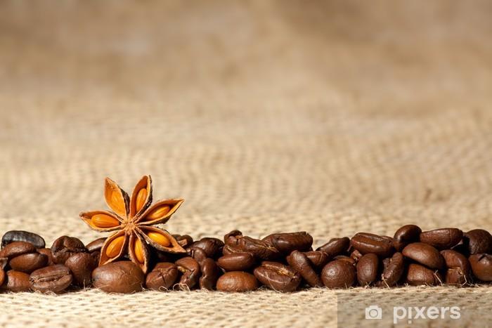 Pixerstick Aufkleber Kaffee und Sternanis auf Sackleinen Hintergrund mit copyspace - Themen