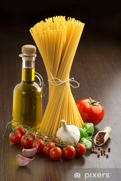 pasta with fresh vegetables and spices Vinyl Wall Mural - Themes