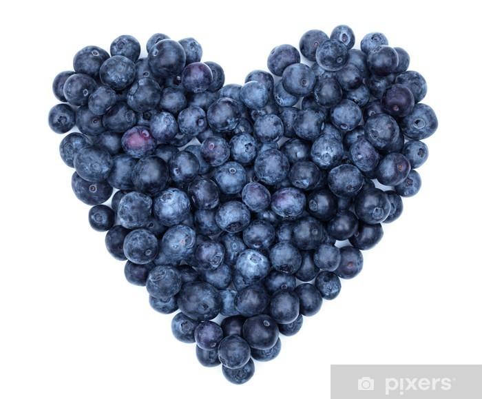 Sticker Pixerstick Coeur bleuets - Fruits