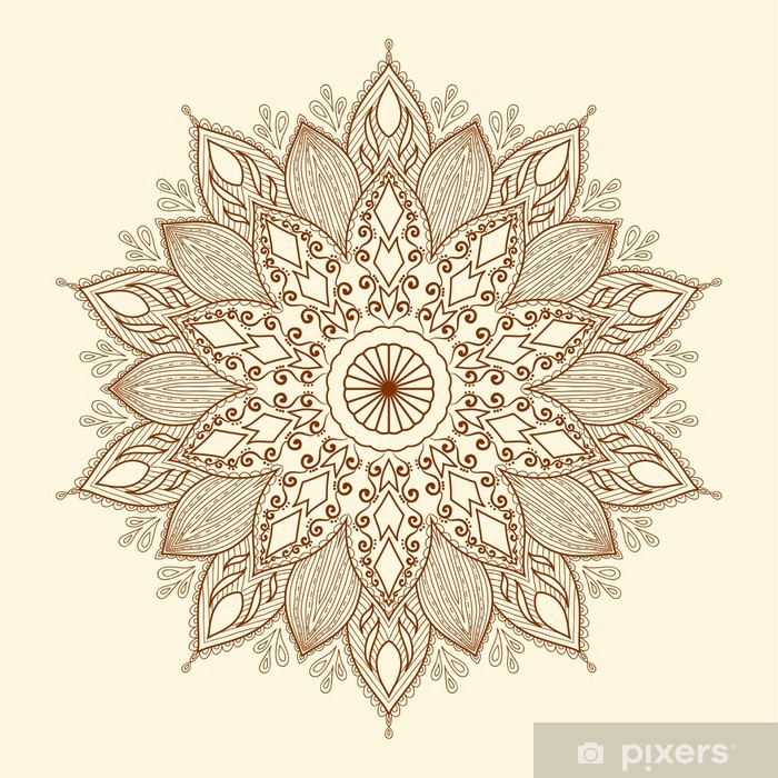 Mandala. Beautiful hand-drawn flower. Vinyl Wall Mural - Styles