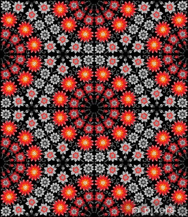 Papier Peint Motif Rouge Et De Fleurs Orange Sur Fond Noir