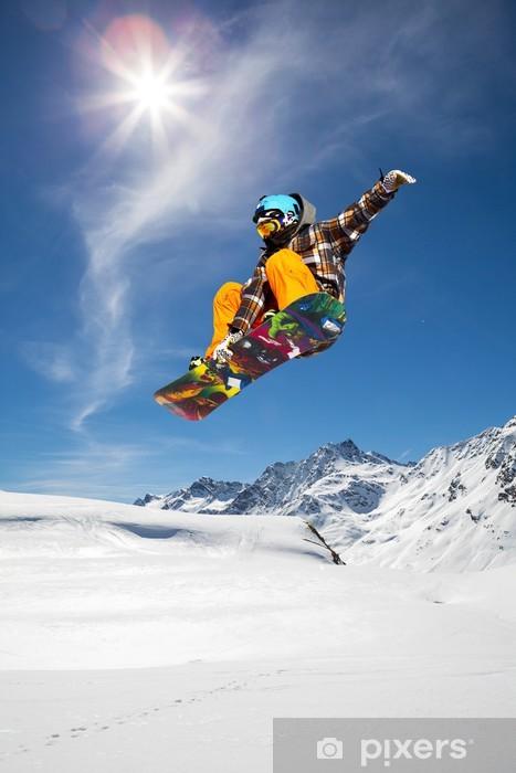 Vinyl Fotobehang Snowboarder - Winter