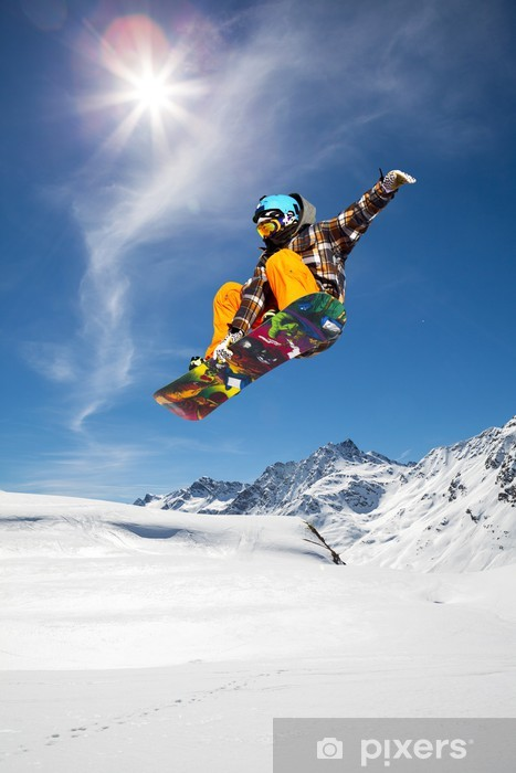 Papier peint vinyle Snowboarder - Hiver