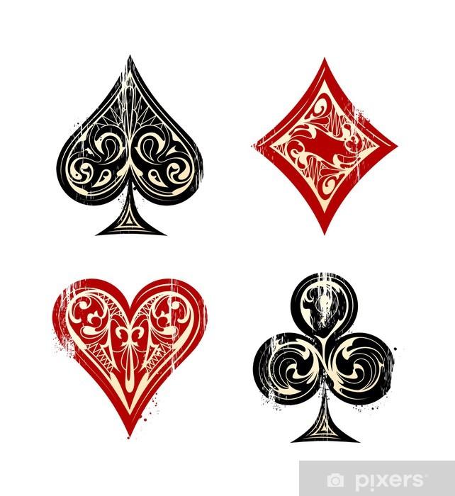 Papier peint vinyle Cartes de jeu vintages sybmols - Signes et symboles