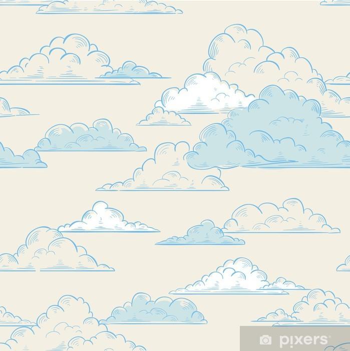 Vinyl Fotobehang Wolken naadloze patroon met de hand getekende illustratie - Thema's