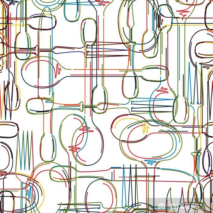 Cutlery pattern Pixerstick Sticker - Themes