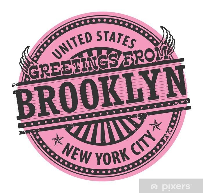 Plakat Pieczęć z tekstowe pozdrowienia z Brooklyn, Nowy Jork, wektor - Naklejki na ścianę