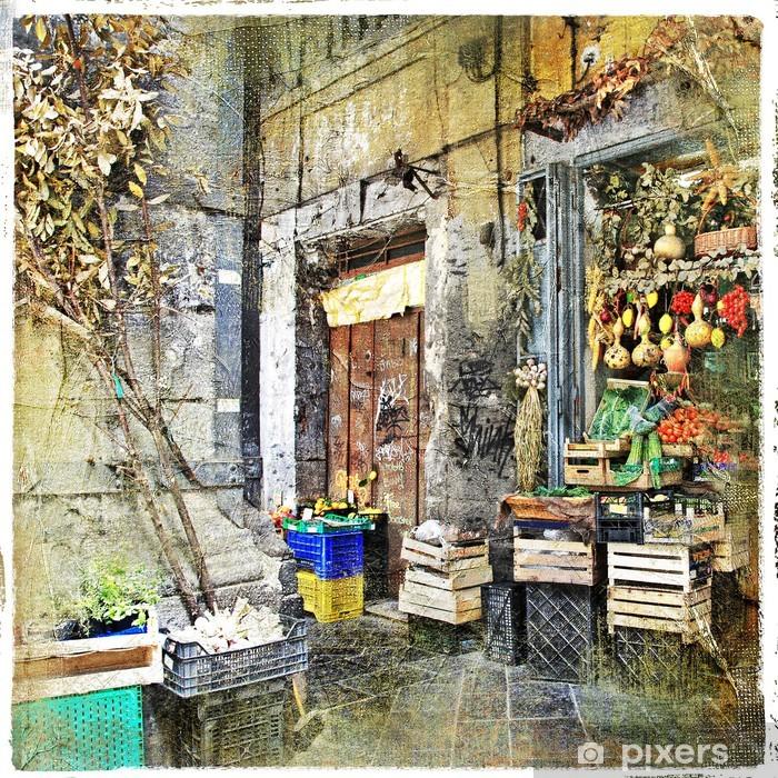 Fototapeta winylowa Napoli, Włochy - stare uliczki z małym sklepie, obrazu artystycznego - Tematy