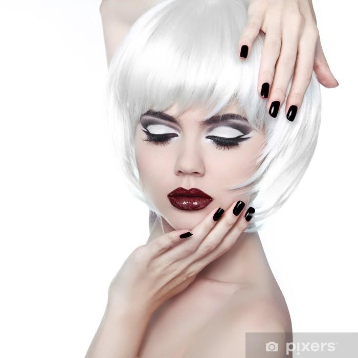Vogue Style Woman. Makeup and Hairstyle. Fashion Stylish Beauty Pixerstick Sticker - Fashion