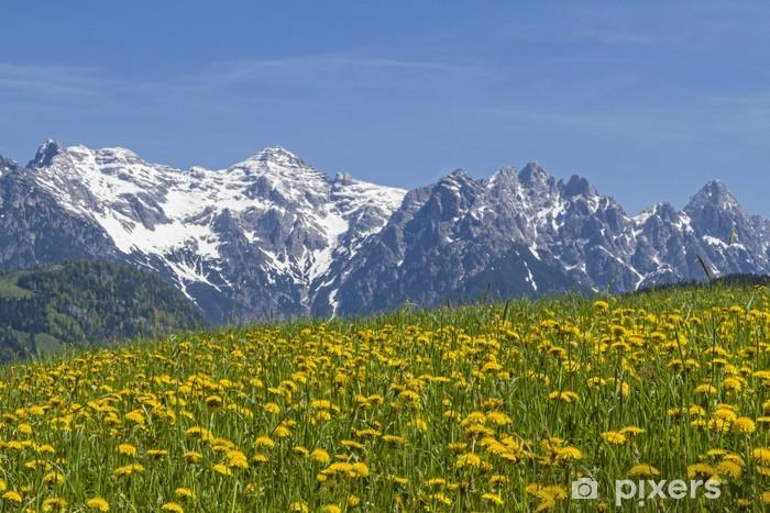 Naklejka Pixerstick Z widokiem na łąki kwitnienia z góry Loferer - Pory roku